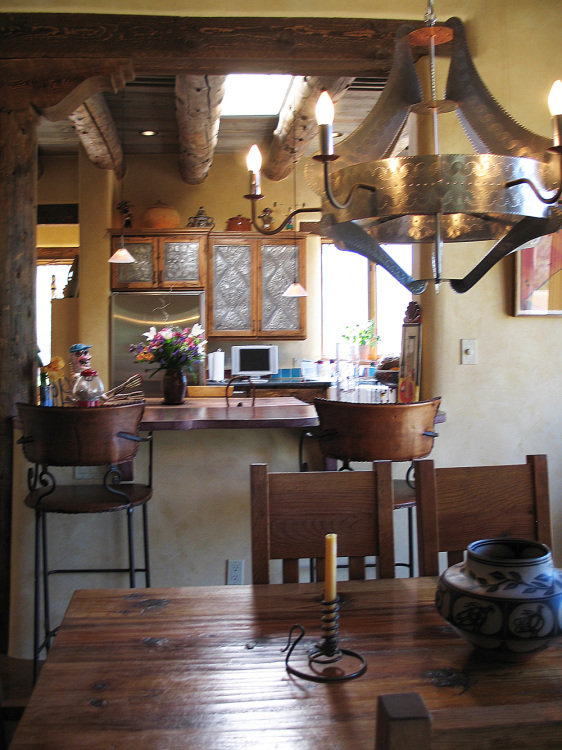 southwestern dining room and kitchen in Taos