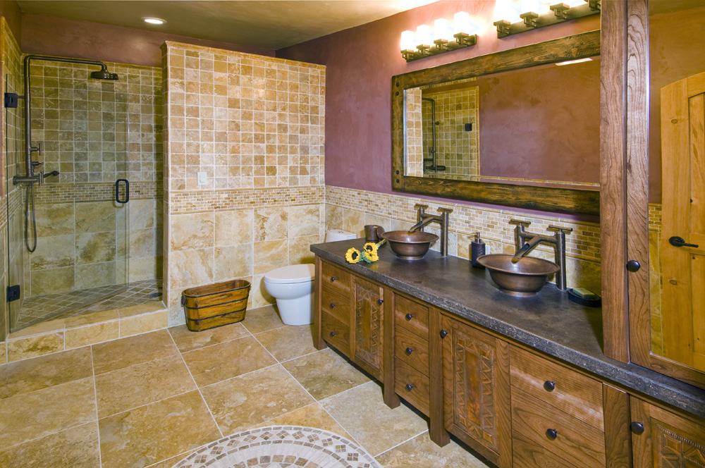 wine colored master bath