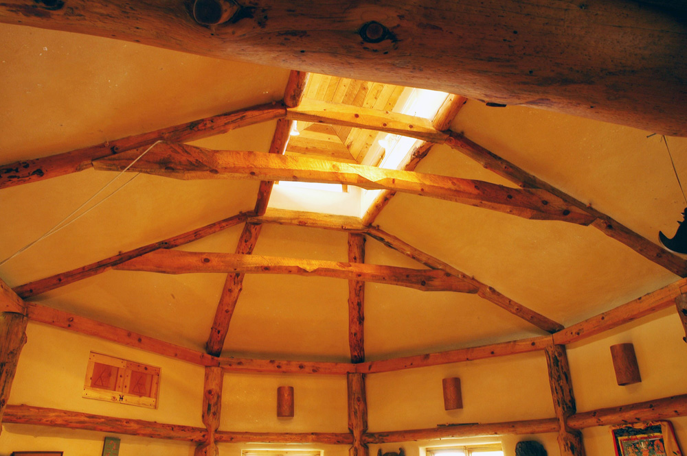 heavy timber dojo ceiling with clerestory