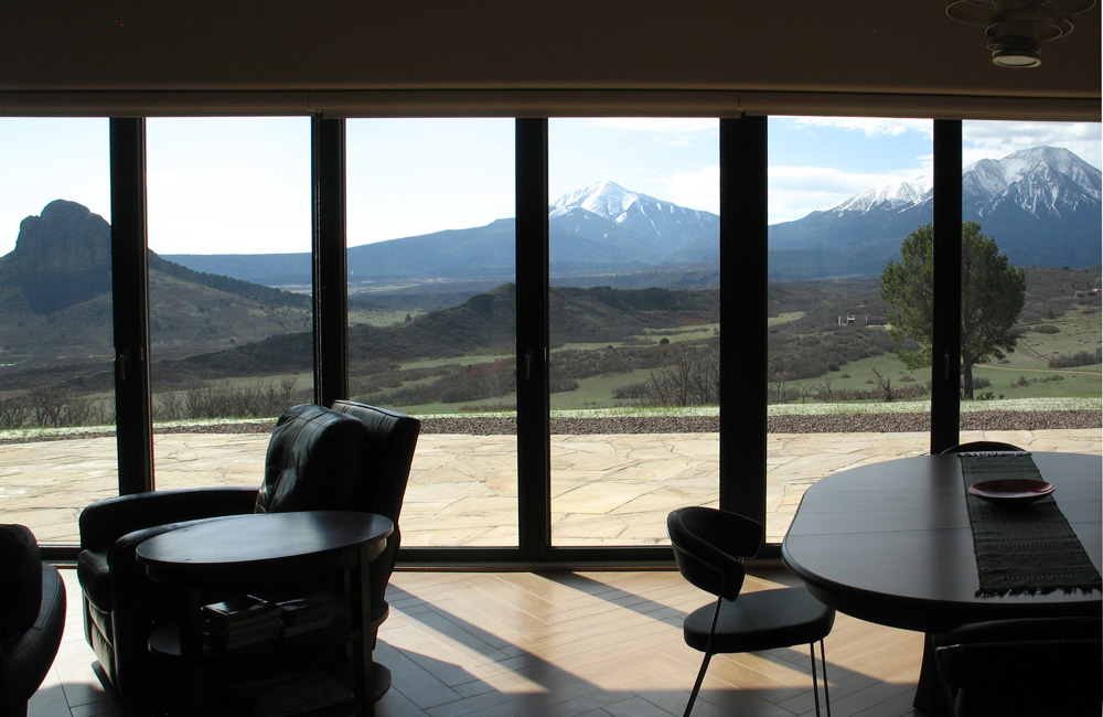 Living room with nana wall + big views of Spanish Peaks