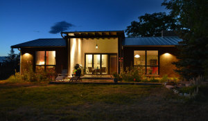night view of passive solar house
