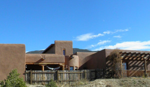 large straw bale home in Taos